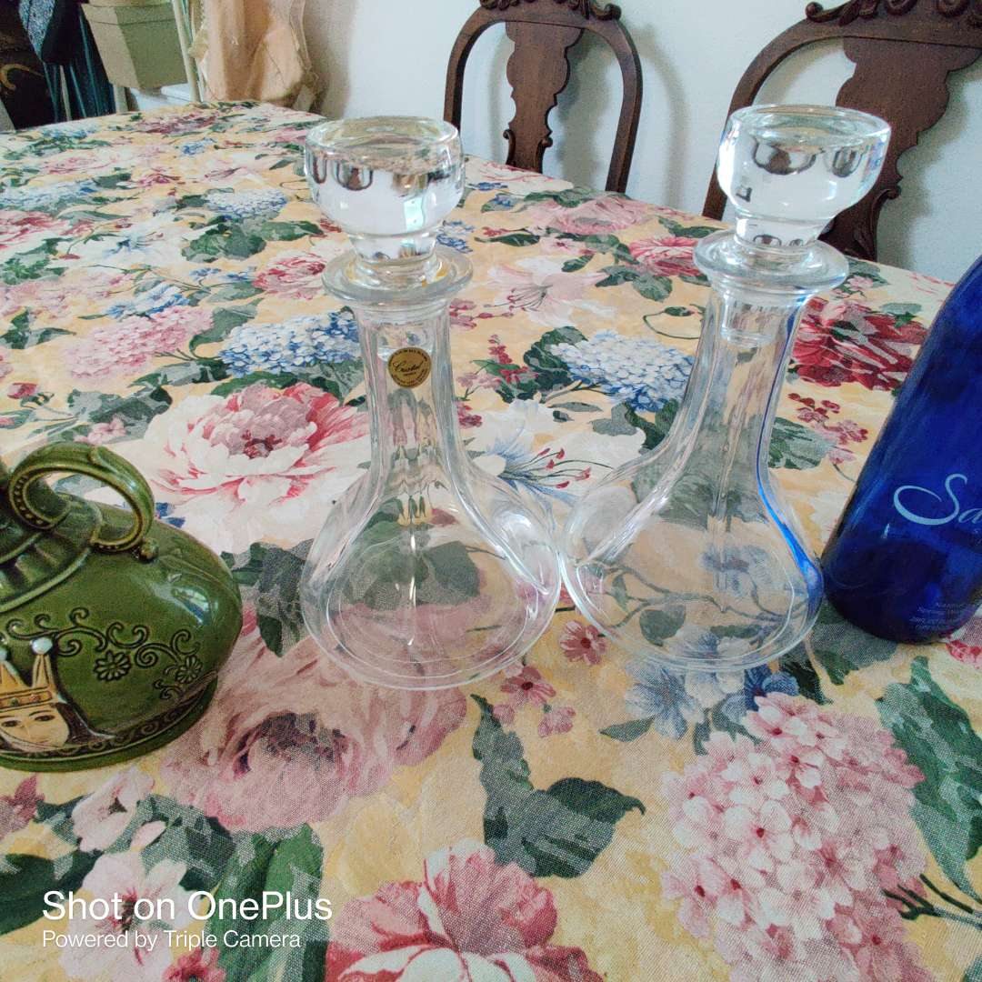 202 lot of Ford decanters two glass Crystal a bottle and one porcelain