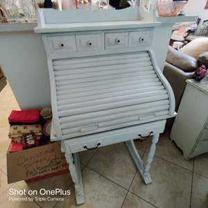 204 very nice country style roll top desk white 27 inches wide 51 in tall distressed