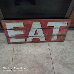 217 very nice solid wood red and white eat sign 30 inches long