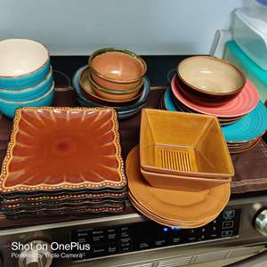 219 28 pieces plates and bowls pottery