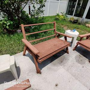 225 wooden patio set loveseat two chairs a little rough