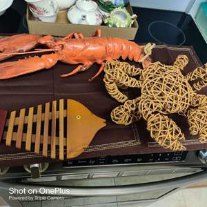 228 three very cool pieces wooden fish and crab and a lobster