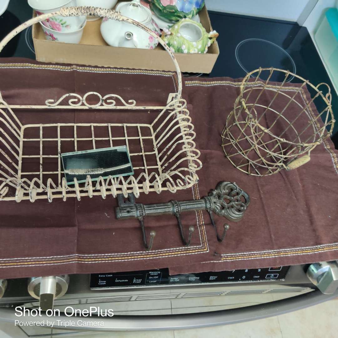 231 two wire baskets and a metal key holder