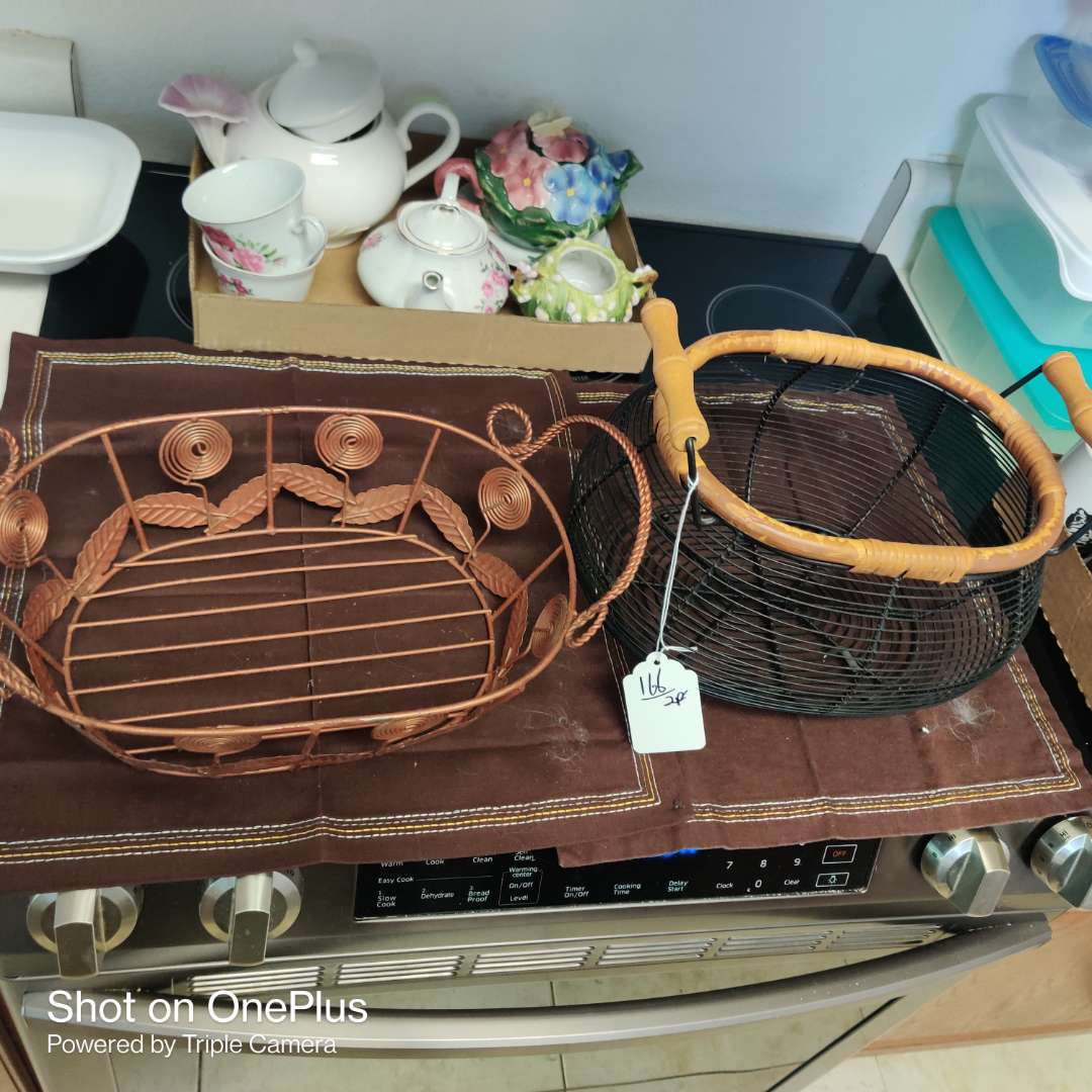 233 two wire baskets one with wood handles both nice