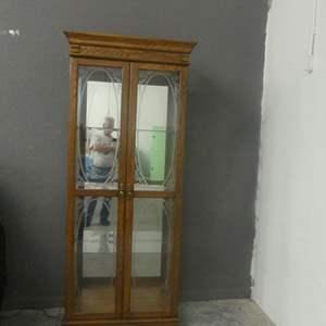 Lot #2 Philip Reinisch Medium Wood Lighted Curio - 2 Etched Doors, 3 Shelves