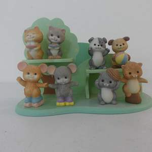 Lot #225 Avon Best Buddies Porcelain Figurine Collection - Complete Set of 8 with Wall Mount Display