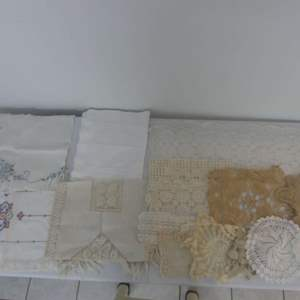 Lot #300 Lot of Vintage Crocheted/Embroidered/Lace Doilies and Table Runners