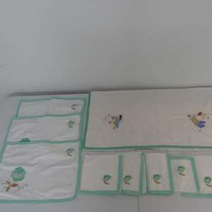 Lot #301 Lot of Vintage Embroidered/Appliqué Placemats and Oriental Tablecloth