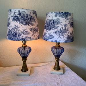 Lot # 1 Gorgeous Matching Pair Antique Marble Base Lamps/Blue Globes