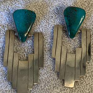 Lot # 6 Fine Pair Native American Sterling Silver Turquoise Earrings Signed D/T Emery
