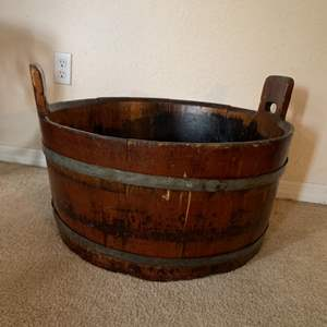 Lot # 13  Great Early Primitive Wooden Well Bucket.