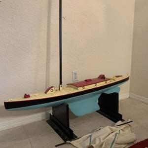 """Lot # 14  HUGE 50"""" Vintage Circa 1930 Marblehead Single Mass Racing Boat. See Below"""