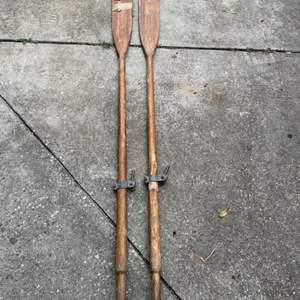 Lot # 15 Pair Vintage Wooden Oars With Hardware.