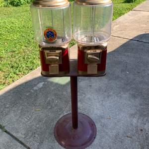 Lot # 27 Very Clean Working Double Nut/Gumball Machine On Stand. No Key.
