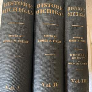 Lot # 37 Beautiful Condition 3 Volume Lot Historic Michigan By George Fuller