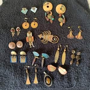 Lot # 49 GREAT Large Lot Vintage Earrings, Signed Brooch, Etc. See Below