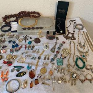Lot # 61  HUGE LOT Assorted Wearable Vintage Jewelry. See All Pics