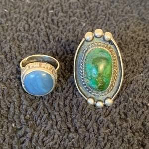 Lot # 71  2 Very Nice Sterling Silver Native American Rings. Size 7. See Below