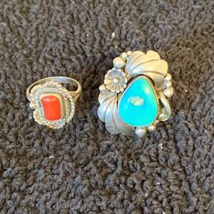 Lot # 73 2 Native American Sterling Silver Rings. Size 7. See Below