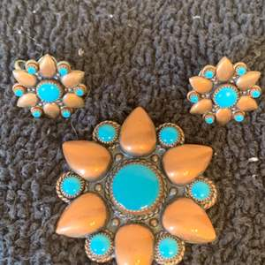 Lot # 75 Very Nice Solid Copper/Turquoise Brooch & Matching Earrings