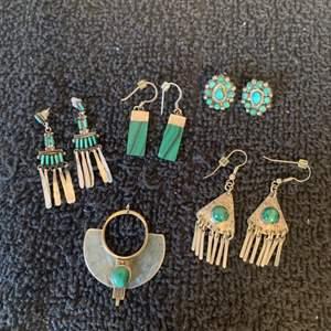 Lot # 77 Great Lot Sterling Silver Turquoise Native American Earrings & Pendant. See Below