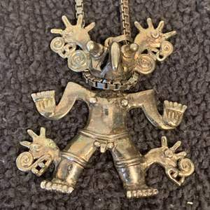 Lot # 78  Unusual Stamped 950 Silver Weird Looking Creature Pendant & Chain. 52.09 grams. See Below