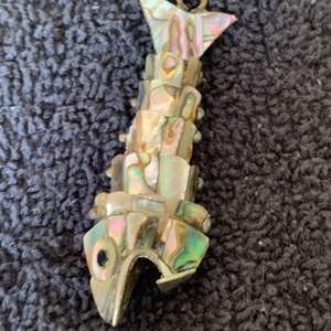 Lot # 92 Very Nice Vintage Silver Mother Of Pearl Articulated Jointed Fish