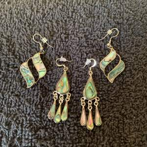 Lot # 93 Nice Pair Vintage Stamped Mexico And Something Else Abalone Earrings