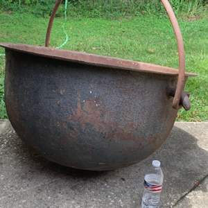 """Lot # 100 WOW!! HUGE HEAVY Early Antique 30"""" Cast Iron Witches Hanging Kettle/Cauldron! See Below"""