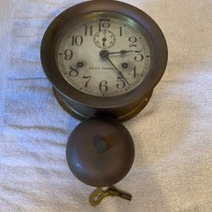 Lot # 102  GREAT Working Antique Seth Thomas Ships Bell Clock With Exterior Bell & Key