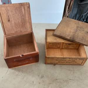 Lot # 112 Lot of FOUR (4) Wooden Boxes - 4 from Ashton Valve Co of Boston & a Cigar Box from Nicaragua!
