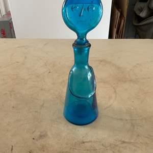 Lot # 113 Vintage (1957-65) Erik Hoglund Glass Bottle w/Face Stopper from Kota Boda, Blue! No Chips or Cracks!