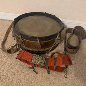 Lot # 129  Very Early Military?? Drum With Original Belt