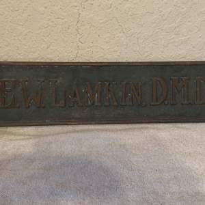 Lot # 130  Antique Heavy Bronze Dentist Sign. See Below