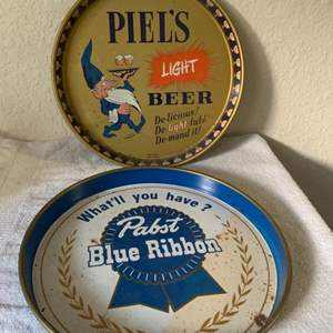 Lot # 163 Two Vintage Beer Trays; Piels & Pabst.