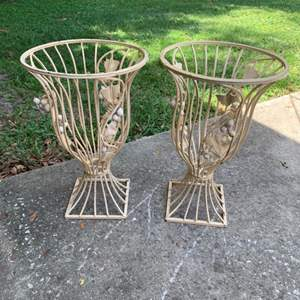 Lot # 177 Matching Pair Wrought Iron Plant Urns/Planters.
