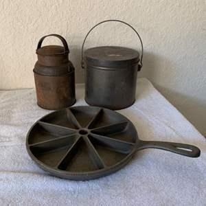 Lot # 179 Lot Vintage Tin & Cast Iron Collectibles