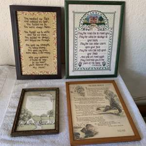 Lot # 180 Lot (4) Vintage Cross-Stitch & Other Framed Wall Hangings
