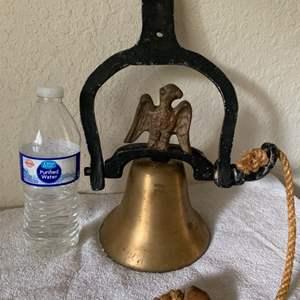 Lot # 206 Large Hanging Vintage Brass Dinner Bell