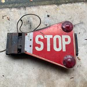 Lot # 216  Vintage Double Sided Swing Arm School Bus Stop Sign