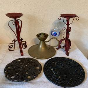 Lot # 224 Assorted Lot Wrought Iron Candle Holders/Big Brass One, 2 Iron Trivets