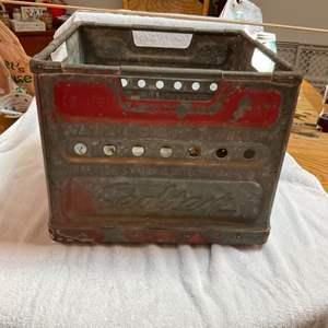 Lot # 258 Vintage Steel Milk Crate - SEALTEST - Protected by PINKERTON DETECTIVE AGENCY! Orig Red Paint