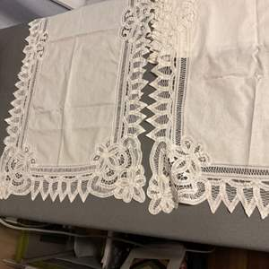 Lot # 262 Lovely Lot of Linens! Seven (7) Pieces - 5 Runners & 2 Square Tablecloths! See Below!