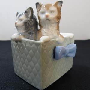 Lot # 46  Nano by Lladro 2 Kittens in a basket