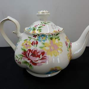 Lot # 57  Like new hand painted flowered teapot