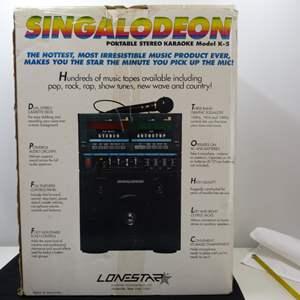 Lot # 213  Singalodeon double cassette portable Karaoke Model K-5 sing along (excellent condition)
