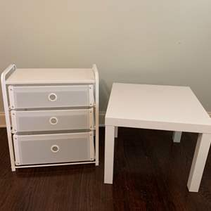 Auction Thumbnail for: Lot # 56 – Small White Table and White 3-Drawer Chest