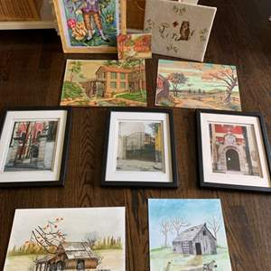Auction Thumbnail for: Lot # 298 - Huge Art Lot Paint-By-Number, Needlepoint, Photography, & More!