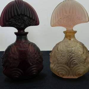 Lot # 215  2 Art Nouveau perfume bottles (show damage but still nice shelf pieces)