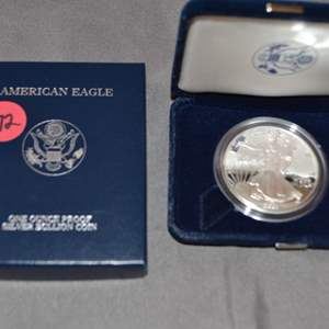 Lot # 172 2001 AMERICAN SILVER EAGLE ONE OUNCE PROOF SILVER BULLION COIN